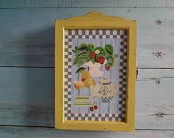 Vintage Wooden Cabinet Key Storage Box Folk Art Hand Painted 1980s