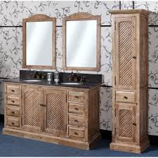 Antique WK Series 60 Inch Rustic Double Sink Bathroom Vanity Natural Oak Finish