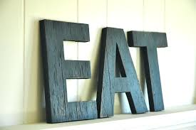 Metal Letters For Wall Decor Uk Walmart Eat Kitchen Art Distressed Wood Amazon