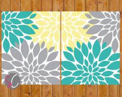Yellow Gray And Teal Bathroom by Flower Burst Grey Teal Yellow On Etsy A Global Handmade And