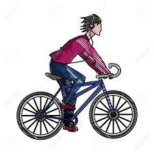 1300x1300 Drawing Guy Riding Bike With Headphones Vector Illustration
