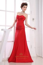 red strapless bridesmaid dresses long empire waist bridesmaid