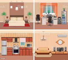 haus innen wohnzimmer heimischen arbeitsplatz schlafzimmer und küche wohndesign mit möbeln und electonics stock vektor und mehr bilder bett