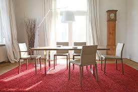 roter teppich im hellen esszimmer teppich stehl