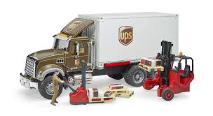 Amazon.com: Bruder Mack Granite Ups Logistics Truck With Forklift ...