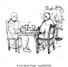 Black And White Vector Sketch Of Two Friends In A Cafe At