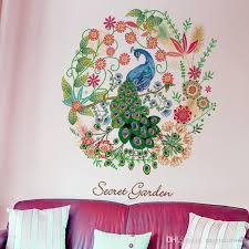 Floral Hoop Peacock Wall Decal Home Decor Flowers Mural Poster Secret Garden Living Room Study Paper Art DIY
