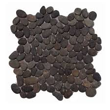 pebble tile sliced black flat stratastones