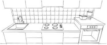 Sketch Drawing Of Built In Kitchen Stove And Oven Black White