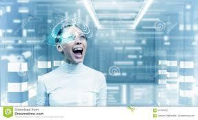 chambre virtuelle fille futuriste dans la chambre virtuelle photo stock image du