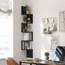 vasagle eckregal wandregal mit 5 ablagen schweberegal für küche schlafzimmer wohnzimmer arbeitszimmer büro schwarz by songmics lbc20bk