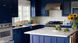 blue kitchens with white cabinets light brown wooden kitchen