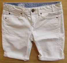 gap 1969 white denim bermuda shorts 25 0 stretch jean raw hem