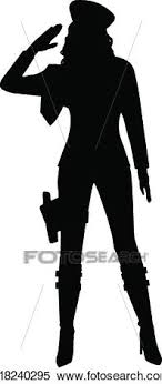 A Silhouette Of Military Woman Saluting