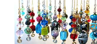 trace ellements jewelry and ceilingfan pulls colorful glass and