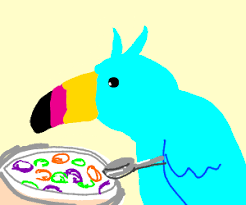 Fruit Loops Bird With Afro Eating