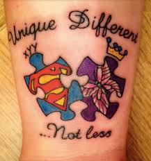This Mother Of Two Autistic Children Got The Tattoo To Symbolise That Her Kids Are Unique And Different But Not Less