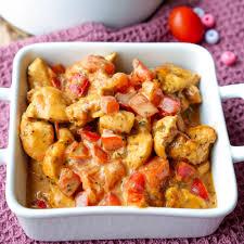 schnelle hähnchen paprika pfanne mit tomaten und sahne sauce
