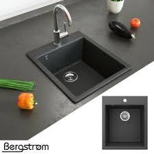 details zu bergström granit spüle küchenspüle einbauspüle spülbecken 425x500mm schwarz
