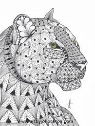 Tangled Leopard Abstract Doodle Zentangle Coloring Pages Colouring Adult