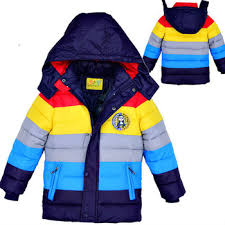 Wholesale Fall Winter New Kids Wear Children Clothing Boys Down Jackets Color Striped Noverty