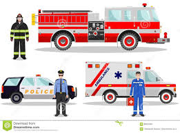 Emergency Concept. Detailed Illustration Of Firefighter, Doctor ...