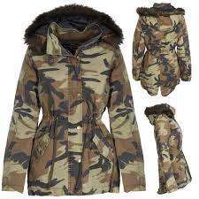 new womens camo camouflage parka winter coat jacket faux fur trim
