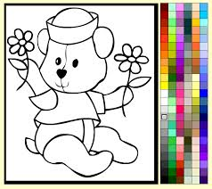 Coloring Pages Printable Simple Drawing Kids Games Online Colorful Incredible Bear Inspiration Cute Picture For