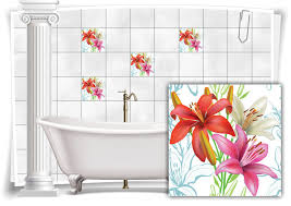 fliesen aufkleber fliesen bild folie nostalgie hibiskus rot pink weiß bad wc deko