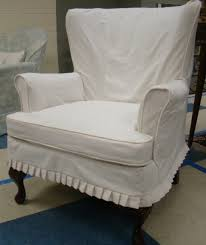 Pottery Barn Napoleon Chair Slipcover by Furniture White Line Slipcover For Wing Chair Appealing