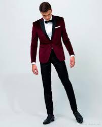 2017 Airtailors Vintage Velvet Wine Red Peak Lapel Tuxedo Wedding Suit For Men Groom Wear Custom Make Jacket Pant Bow Tuxedos Italian Suits