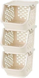 weizq 3er set gemüse obst aufbewahrungsbox küche regal korb küchenkorb stapelbar kartoffel aufbewahrung korbregal 30 5 29 5 25cm