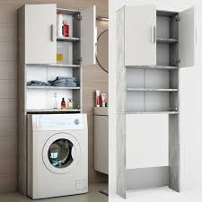 icco waschmaschinenschrank grau beton 190 x 64 cm badregal hochschrank waschmaschine bad schrank badezimmerschrank überbau