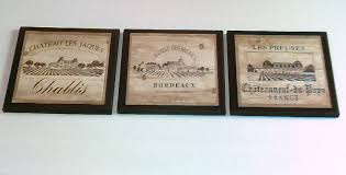 wine crate label style kitchen wall decor plaques 3pc french