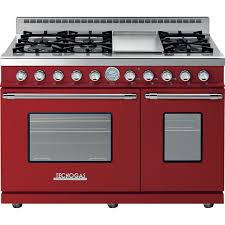 Tecnogas RD482GCR C 48 Inch DECO Natural Gas Range With 6 Burners & Griddle Red Chrome