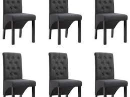 esszimmerstühle 6 stk dunkelgrau stoff 966