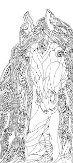 Coloring Pages Horse Printable Adult Book Clip Art Hand Drawn Original Zentangle Colouring Page For