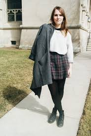 This Fashionista Is Rocking School Inspired Fashion With Vintage Skirt And Brought It Up To Date An American Apparel Sweater Some Dainty