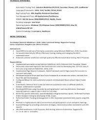 Good Sample Resume For Selenium Automation Testing Free