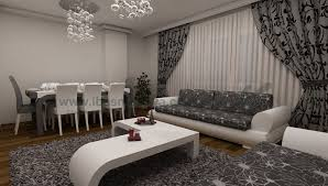 lagre modern living room design with window curtains drapery