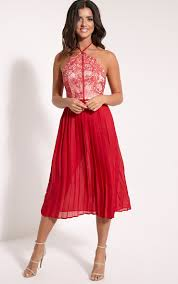 prettylittlething womens cristabel red lace halterneck pleated