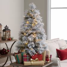 Unlit Christmas Tree 9 by 3 5 Ft Pre Lit Flocked Needle Battery Operated Christmas Tree