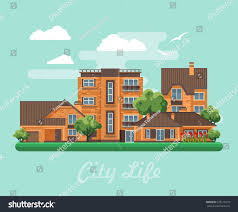 100 Semi Detached House Design City Life Vector Illustration Buildings Stock