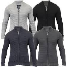 mens cardigan threadbare jumper knitted sweater top waffle jacket