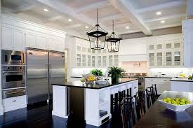 Stainless Steel Mount Range Hood Dark Wood Floors With White Cabinets Rectangle Wooden Island Black Granite Top Classic