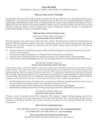 Samples Resume Special Education Teacher Intended For