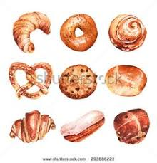 Vector Set Of Baking In Watercolor Style Muffins Bagels Croissants Pastries
