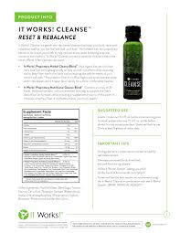 It Works Cleanse Info Reset Rebalance Gentle Herbal