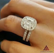 2 00ct Natural Cushion Halo French Pave Diamond Engagement Bridal