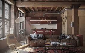 InteriorAdmirable Rustic Style Loft Design With Exposed Brick Wall Combine White Standing Lamp Plus
